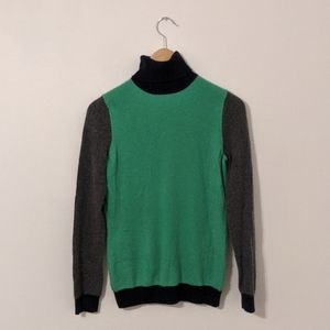 Talbots Green Gray Color block Cashmere Sweater